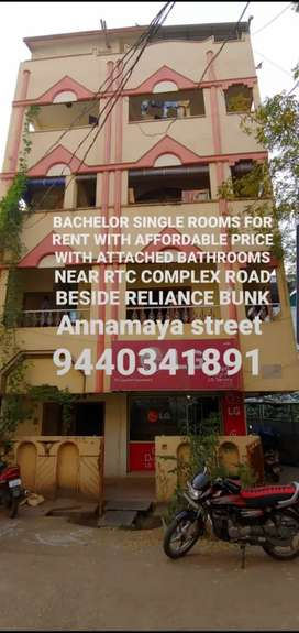 BACHELOR single  ROOM for RENT near rtc bus complex attached bathroom
