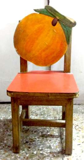 Wooden Orange Chair For KIds