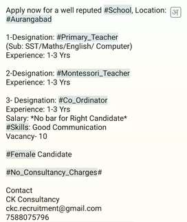 Urgently Required Teacher for English School