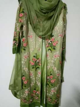 Gown with silk suit