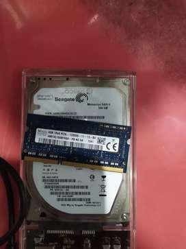 Hdd 500gb + RAM 4gb