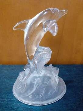 Pajangan Kristal Kuno Miniatur Patung Ikan Lumba-Lumba Crystal DOLPHIN