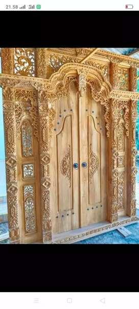 Gebyok/ pintu jati tua ukiran jepara 300 cm x 270 cm