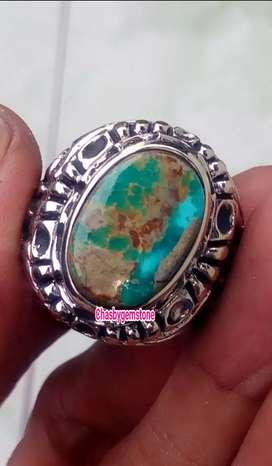 Natural Batu Pirus Persia-Cincin Pirus Persia Serat Emas