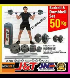 alat fitness gym dumbel barbel set 50 kg promo murah