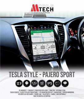Head unit pajero tesla android 12 inci