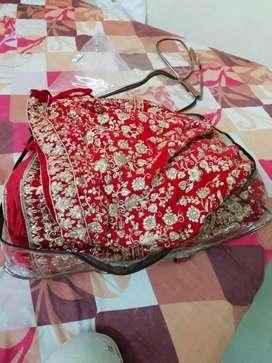 Red colour wedding lehanga