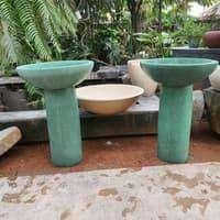 pot teratai hijau glossy bahan serbuk marmer