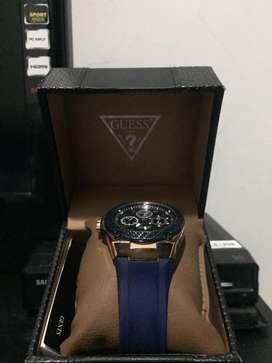 Jam Tangan Pria Guess W1049G2 Rose Gold Biru Original Garansi Resmi