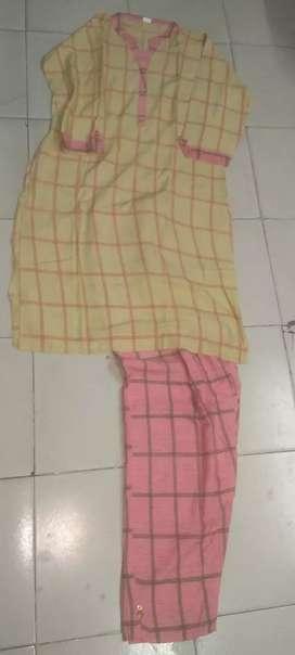 Kurti trouser peach colour New set