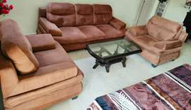 Elegant Suede leather 5 seater Sofa set + Wooden center table on SALE