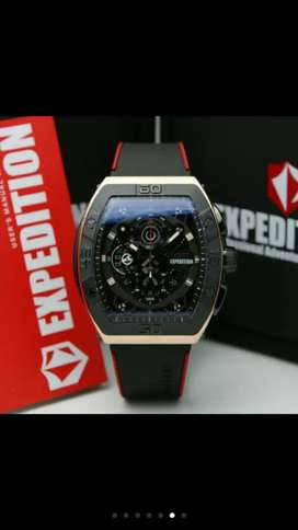 Jam Tangan Expedition ORIGINAL/ 2 Warna Tali Merah dan Hitam