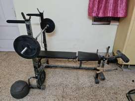 Gym bench, rod and 55kg plates