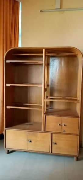 Cloth stand with closed cupboard - teak wood