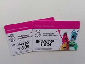 Voucher Kouta Isi Ulang Tri Unlimited + 6GB (Rave Cell Sako)