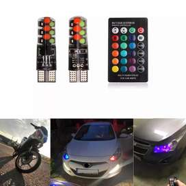 Car Parking lights 2PCS High quality T10 with 15 colors remote control