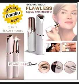 Pack of 2 [ Flawless Facial Hair Remover + Eyebrow Hair Remover ]