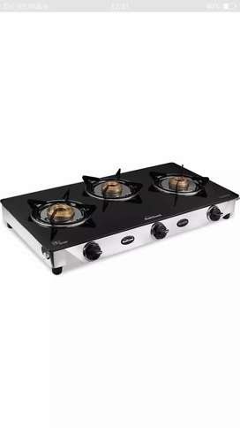 03 BURNER GAS STOVE with glass top