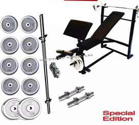 8 in 1 38kg Weight Bench Press Weight Plates 4ft rod Dumbel Rod Gloves