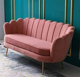 ANUGRAH-FURNITURE,Sofa new VINTAGE retro pink motif kerang kulit osvr.