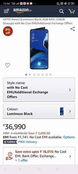 Oppo Reno 2 8+256 unused phone billing date only 15 days old