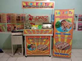 Paket Usaha Sate Telor Puyuh dan Long Potato booth Portable