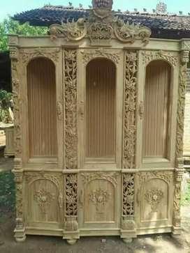 Almari pajangan shima pintu 3.bahan dari kayu jati berkualitas