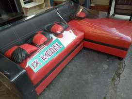 JX MEBEL Sofa Sudut L Red Black Minimalis