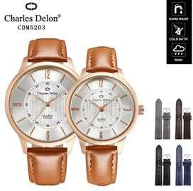 jam tangan couple charles dellon light brown