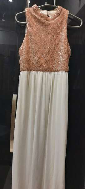 Dress maxi party shaadi white and rose gold