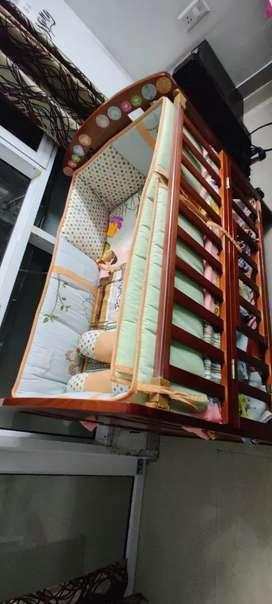 Wooden Baby Cot cum Rocker with Storage space