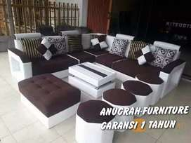 ANUGRAH-FURNITURE,Sofa L set cream-coklat minimalis+bantal+meja+puff.