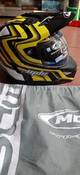 MDS supermoto hitam list kuning ukuran XL