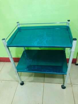 Examination couch, drip stand, cupboard and trolly for medicine, stool