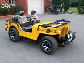 Yellow low rider drive willys jeep