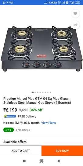 Prestige Marvel series 4 burner Gas stove for sale unused piece