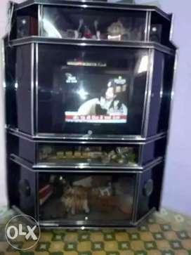 Aecrelic black tv & computer unit . Silver aembose and lock system.