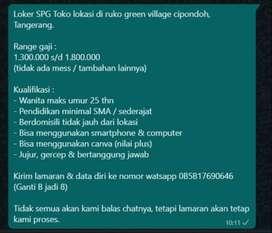 LOKER SPG Toko di Cipondoh Tangerang