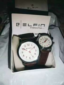 Elfin pair of Leather band watches. Brand new.