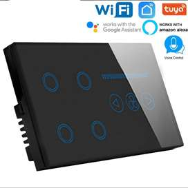 4 Gang + Dimmer Smart Wifi wall touch switch work with Google Home and