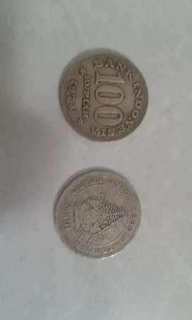 Uang koin tebal pecahan 100 thn 1973 dan 1978