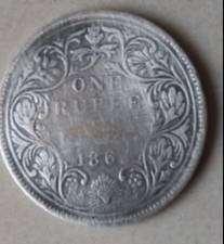1862 VICTORIA QUEEN RARE ONE RUPEE Coin.