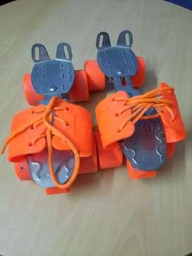 Orange color learners skating