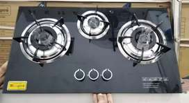 Gas HUB 3 Burner, Imported Glass Top limited time special Offer