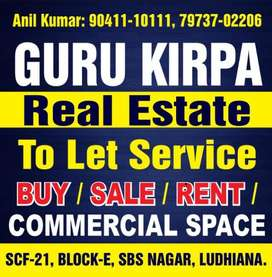 One shop space for any showroom or office as per ur need sarabha nagar