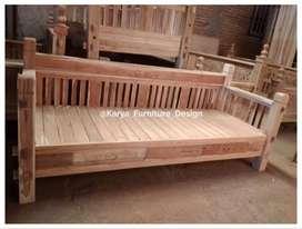 bale bale jati / daybed kayu ukir minimalis jepara kf-4661