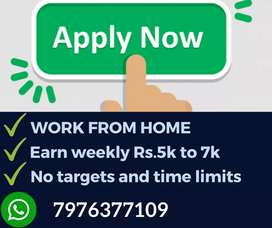 Great opportunity for all. Part time jobs. Earn Weekly Rs.7000/-