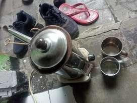 Kompor listrik + teko + saringan + gelas