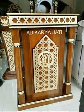 Mimbar podium ornamen ukir kayu jati /buat musholla masjid.