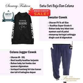 AM00402 Celana Setelan Satu set Sweater cewek dan celana joger